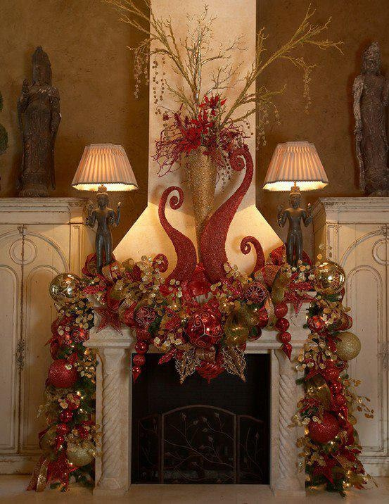 Christmas Fireplaces Decor 13 - Fireplace Mantel Décor Styles For The Christmas Season