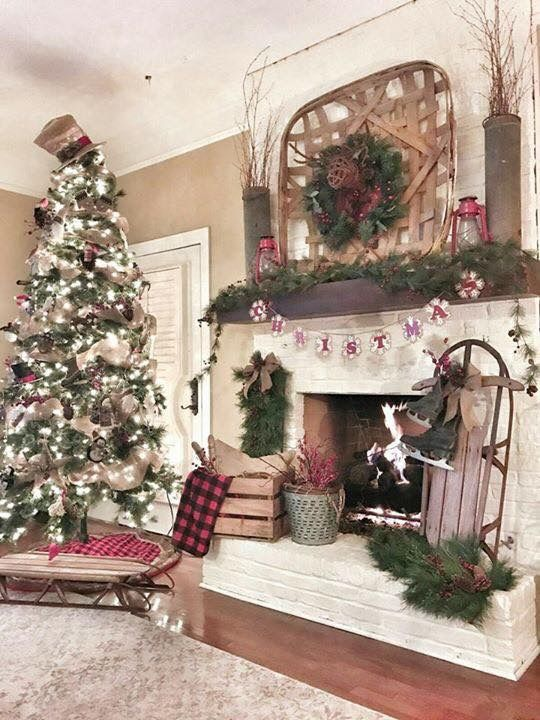 Christmas Fireplaces Decor 19 - Fireplace Mantel Décor Styles For The Christmas Season