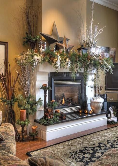 Christmas Fireplaces Decor 20 - Fireplace Mantel Décor Styles For The Christmas Season