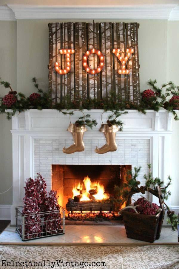 Christmas Fireplaces Decor 22 - Fireplace Mantel Décor Styles For The Christmas Season