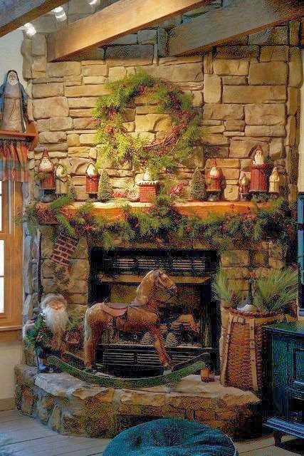 Christmas Fireplaces Decor 25 - Fireplace Mantel Décor Styles For The Christmas Season
