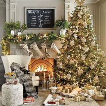 Christmas Fireplaces Decor 34 214x214 - Fireplace Mantel Décor Styles for the Christmas Season