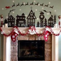 Christmas Fireplaces Decor 37 214x214 - Fireplace Mantel Décor Styles for the Christmas Season