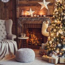Christmas Fireplaces Decor 40 214x214 - Fireplace Mantel Décor Styles for the Christmas Season