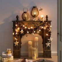 Christmas Fireplaces Decor 47 214x214 - Fireplace Mantel Décor Styles for the Christmas Season