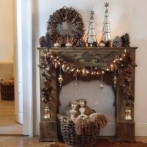 Christmas Fireplaces Decor 48 214x214 - Fireplace Mantel Décor Styles for the Christmas Season