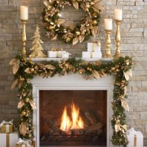 Christmas Fireplaces Decor 52 214x214 - Fireplace Mantel Décor Styles for the Christmas Season