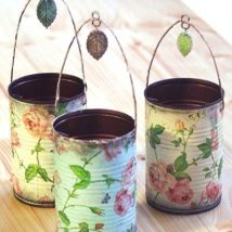 Decoupage Tin Can Planters 10 214x214 - Amazing ideas to Decoupage Tin Can Planters