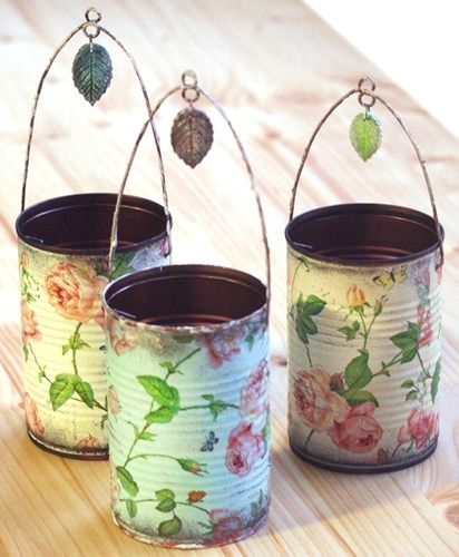 Decoupage Tin Can Planters 10 - Amazing Ideas To Decoupage Tin Can Planters