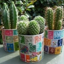 Decoupage Tin Can Planters 15 214x214 - Amazing ideas to Decoupage Tin Can Planters