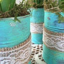 Decoupage Tin Can Planters 28 214x214 - Amazing ideas to Decoupage Tin Can Planters