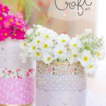 Decoupage Tin Can Planters 29 214x214 - Amazing ideas to Decoupage Tin Can Planters