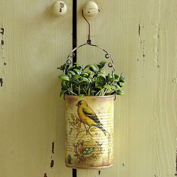 Decoupage Tin Can Planters 40 - Amazing Ideas To Decoupage Tin Can Planters