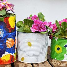 Decoupage Tin Can Planters 45 214x214 - Amazing ideas to Decoupage Tin Can Planters
