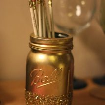 Mason Jar Pencil Holders 11 214x214 - Spectacular Mason Jar Pencil Holders Ideas