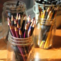 Mason Jar Pencil Holders 14 214x214 - Spectacular Mason Jar Pencil Holders Ideas