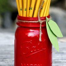 Mason Jar Pencil Holders 16 214x214 - Spectacular Mason Jar Pencil Holders Ideas