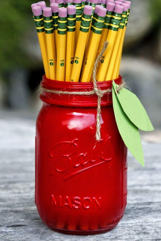 Mason Jar Pencil Holders 16 - Spectacular Mason Jar Pencil Holders Ideas