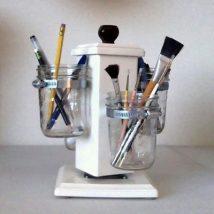 Mason Jar Pencil Holders 24 214x214 - Spectacular Mason Jar Pencil Holders Ideas