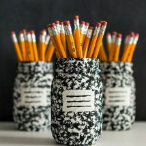 Mason Jar Pencil Holders 25 214x214 - Spectacular Mason Jar Pencil Holders Ideas