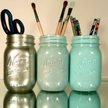 Mason Jar Pencil Holders 34 214x214 - Spectacular Mason Jar Pencil Holders Ideas