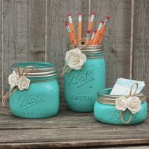 Mason Jar Pencil Holders 35 214x214 - Spectacular Mason Jar Pencil Holders Ideas
