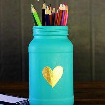 Mason Jar Pencil Holders 40 214x214 - Spectacular Mason Jar Pencil Holders Ideas
