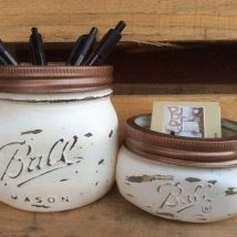 Mason Jar Pencil Holders 8 214x214 - Spectacular Mason Jar Pencil Holders Ideas