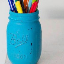 Mason Jar Pencil Holders 9 214x214 - Spectacular Mason Jar Pencil Holders Ideas