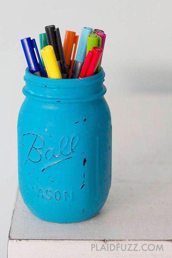 Mason Jar Pencil Holders 9 - Spectacular Mason Jar Pencil Holders Ideas